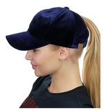Messy Bun Ponytail Trucker Baseball Hat Navy Velvet