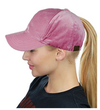 Messy Bun Ponytail Trucker Baseball Hat Rose Velvet