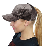 Messy Bun Ponytail Trucker Baseball Hat Taupe Velvet