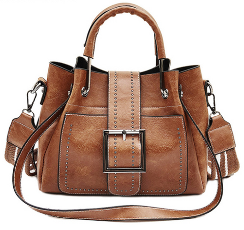 Macy's Leather Handbag Brown