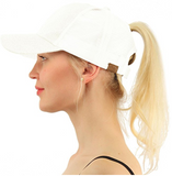 Messy Bun Ponytail Trucker Baseball Hat Glitter White