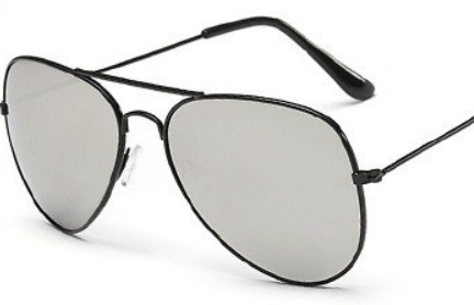 Black Silver Mirrored Aviator Sunglasses