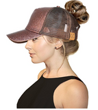 Messy Bun Ponytail Trucker Baseball Hat Bronze Sparkle