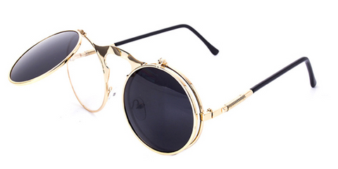Steampunk Flip Up Round Circle Sunglasses