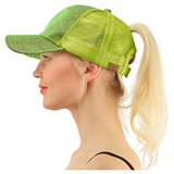 Messy Bun Ponytail Trucker Baseball Hat Glitter Lime