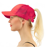 Messy Bun Ponytail Trucker Baseball Hat Hot Pink