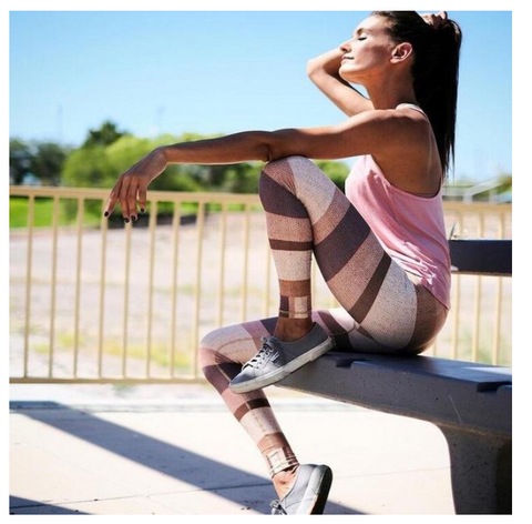 Strip Printed Push Up Leggings