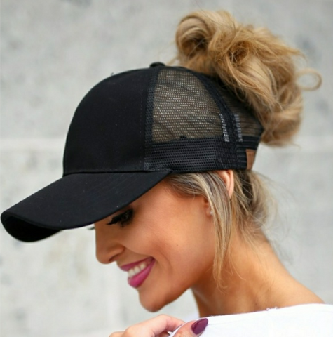 Messy Bun Ponytail Trucker Baseball Hat Black