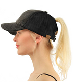 Messy Bun Ponytail Trucker Baseball Hat Glitter Black