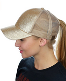 Messy Bun Ponytail Trucker Baseball Hat Gold Sparkle