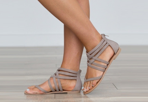 Boho Ankle Wrap Zipper Back Sandal Flats