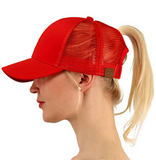 Messy Bun Ponytail Trucker Baseball Hat Red