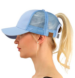 Messy Bun Ponytail Trucker Baseball Hat Lt Blue