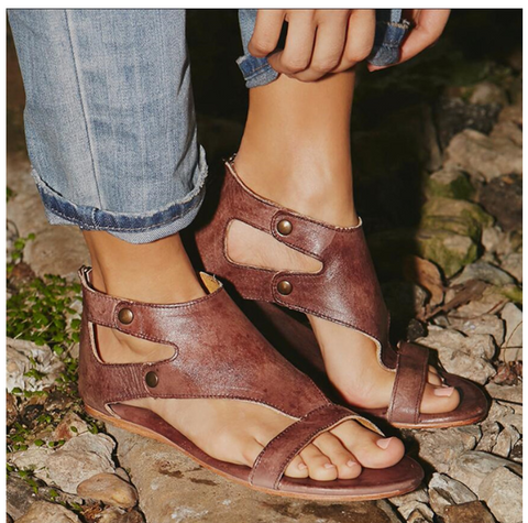 Leather Boho Ankle Flat Strap Sandal - dark brown