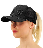 Messy Bun Ponytail Trucker Baseball Hat Denim Black