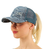 Messy Bun Ponytail Trucker Baseball Hat Denim Blue