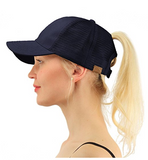 Messy Bun Ponytail Trucker Baseball Hat Navy