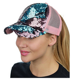 Mermaid Sequin Messy Bun Ponytail Trucker Baseball Hat Rose/Teal