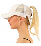 Messy Bun Ponytail Trucker Baseball Hat Beige