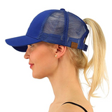 Messy Bun Ponytail Trucker Baseball Hat Royal Blue