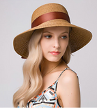 Bowtie Brimmed Sun Hat - Light Coffee