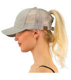 Messy Bun Ponytail Trucker Baseball Hat Gray