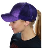 Messy Bun Ponytail Trucker Baseball Hat Glitter Purple