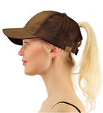Messy Bun Ponytail Trucker Baseball Hat Brown