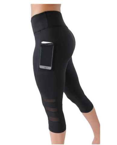 Fierce Capri Pocket Leggings - Black