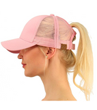Messy Bun Ponytail Trucker Baseball Hat Pink