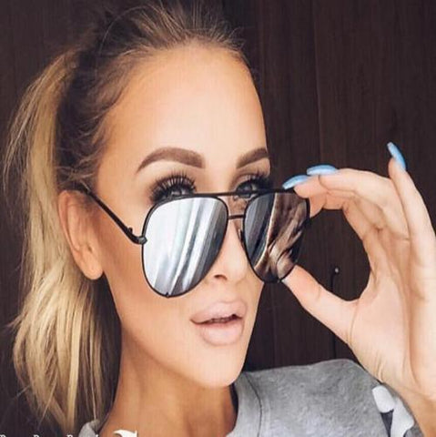Mirrored Aviator Sunglasses Black Silver