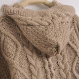 Hooded Long Sleeve Cardigan Knitted Sweater