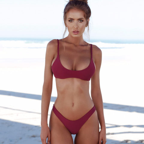 Solid High Leg Bralette Brazilian Push Up Bikini Swimsuit - Two Piece Set Burgundy