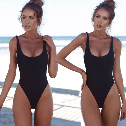 Solid Color High Leg One Piece Monokini Swimsuit Black