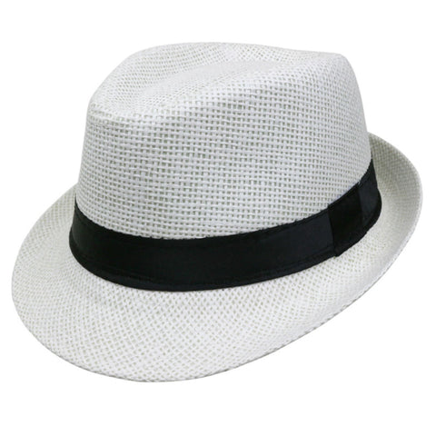 Straw Fedora White