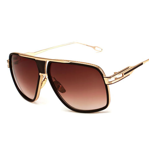 Men's Polarized Fashion Square Sunglasses Gold Brown