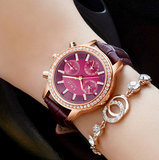 Women's Rose Gold-Tone Leather Strap Watch