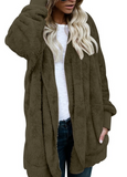 Hooded Fuzzy Faux Fur Jacket