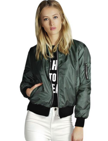 Slim Soft Zipper Bomber Jacket Olive