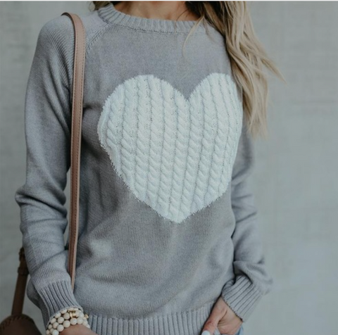 Heart Pattern Long Sleeve Sweater