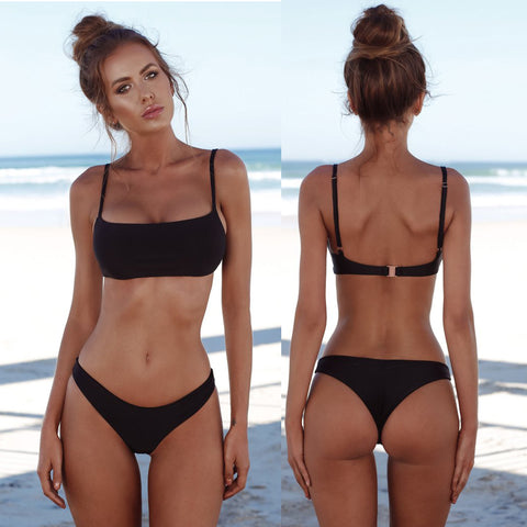 Hot Solid Bandeau Bralette Bikini Push Up Swimsuit - Two Piece Set Black
