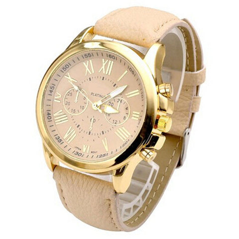 Women's Roman Numeral Big Dial Leather Watch