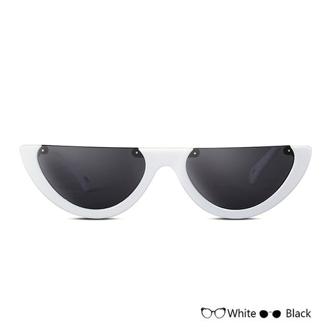 Cat Eye Sunglasses Half Frame White