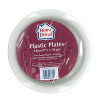 HomeProud Plastic Plates - White (18cm) 10S | Disposables | Office Pantry Supplies