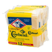 Cowhead Cheese Slices - Cheddar 3S x 250G (12S) | Cheese | Office Pantry Supplies