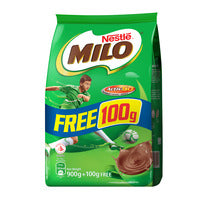 Milo Instant Chocolate Malt Powder Refill - Activ-Go 900G + Free 100G | Chocolate and Malt | Office Pantry Supplies