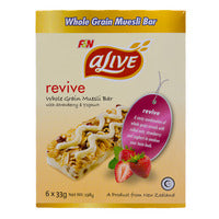 F&N aLive Revive Whole Grain Muesli Bar - Strawberry & Yoghurt 6 x 33G | Cereal Bars | Office Pantry Supplies