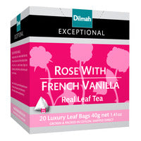 Dilmah Exceptional Tea Bags - Rose With French Vanilla 20 x 2G | Flavoured Tea | Office Pantry Supplies