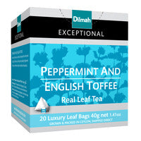 Dilmah Exceptional Tea Bags - Peppermint and English Toffee 20 x 2G | Flavoured Tea | Office Pantry Supplies