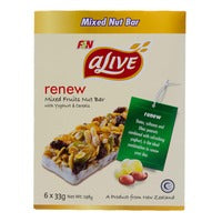 F&N aLive Renew Mixed Nut Bar - Mixed Fruits & Yogurt 6 x 33G | Cereal Bars | Office Pantry Supplies